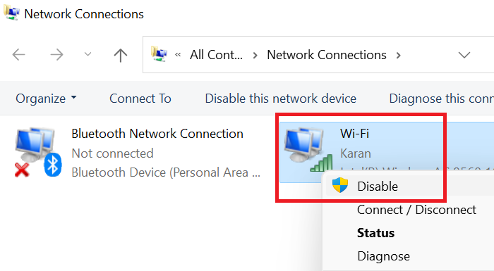 Enable and Disable Wi-Fi and Ethernet adapter on Windows 11 through Control Panel