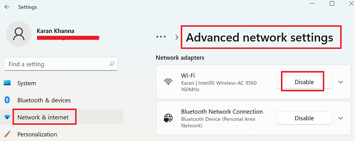 Enable and Disable Wi-Fi and Ethernet adapter on Windows 11 through Settings