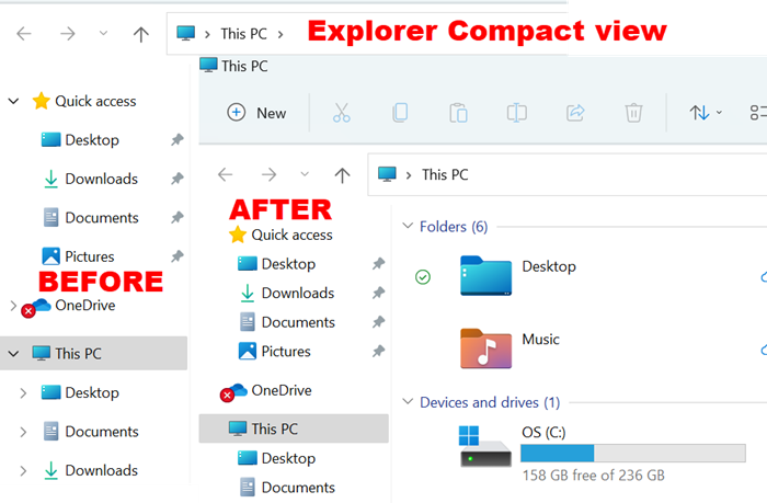 decrease the space between the items in Explorer