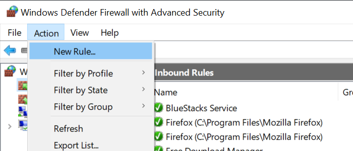 Firewall Action New Rule