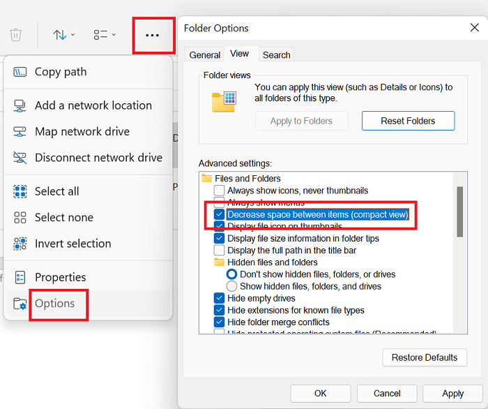 How to decrease the space between the items in Explorer