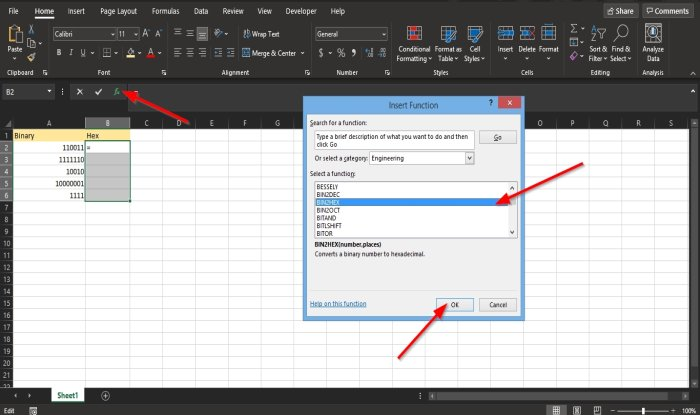How to use the BIN2HEX function in Excel