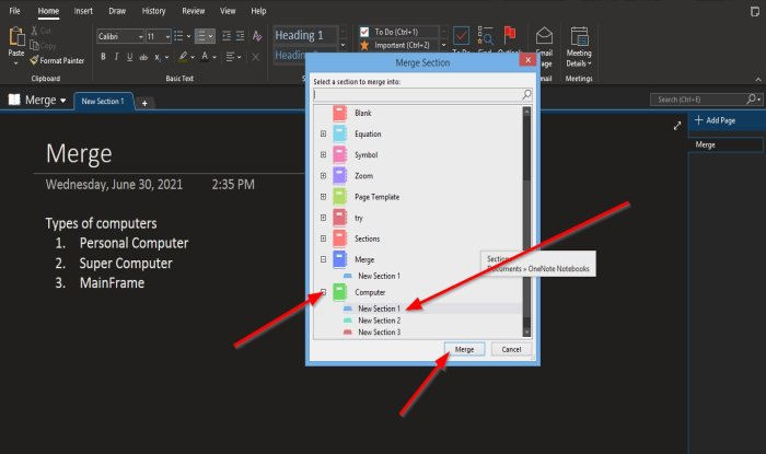 How to move Sections or merge Notebooks in OneNote