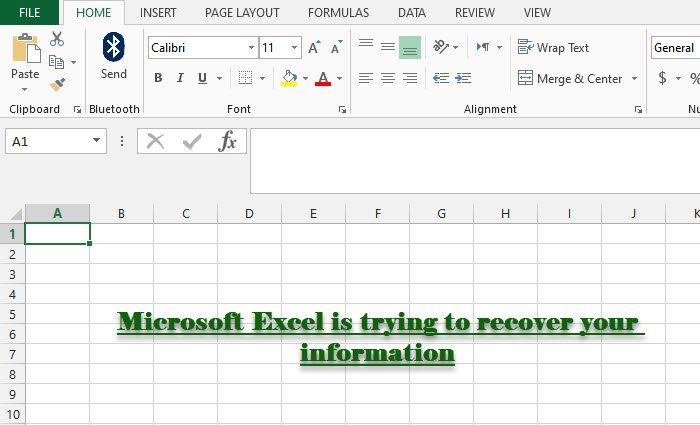 Microsoft Excel is trying to recover your information