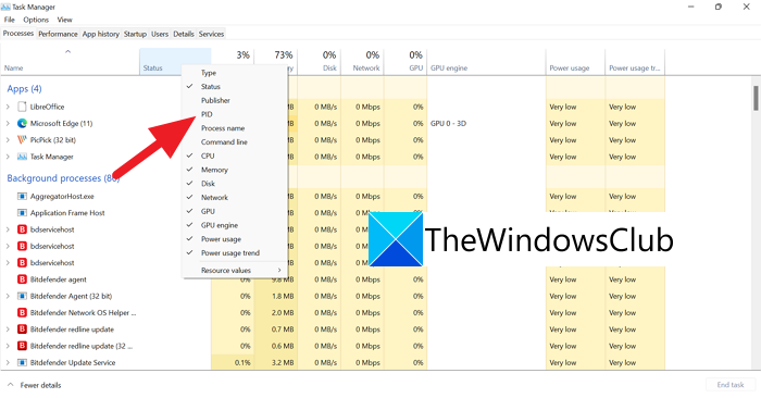 PID Tab in Task Manager