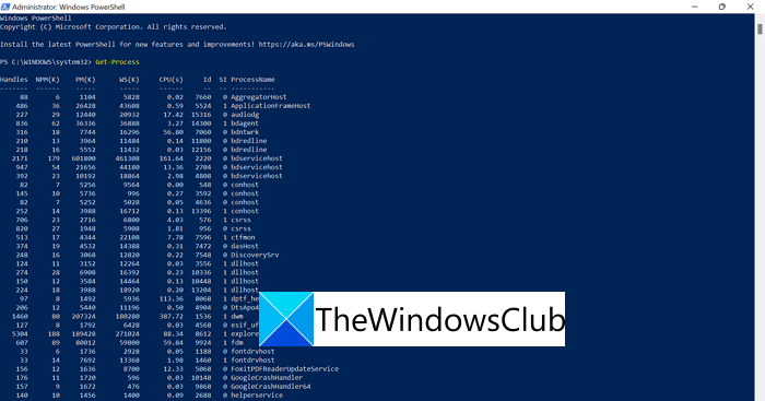 Process ID in PowerShell