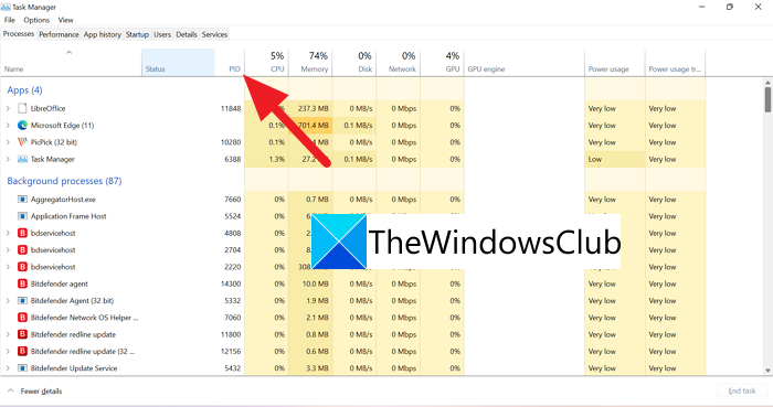 Process ID in Task Manager