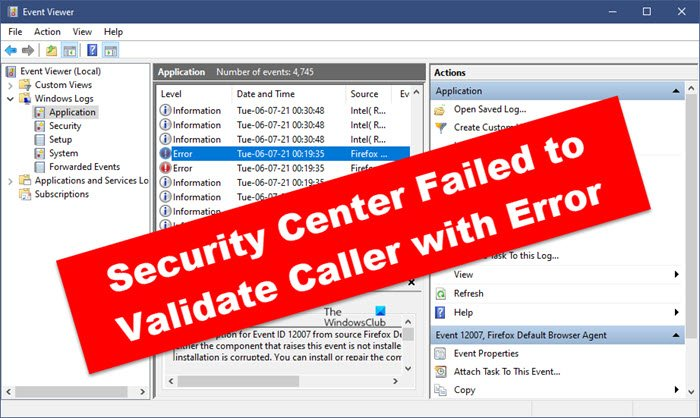 Security Center Failed to Validate Caller with Error