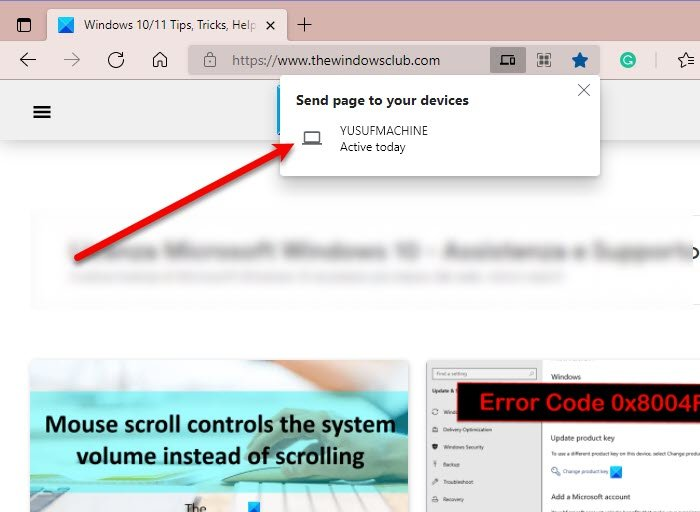 Send Tabs to other devices with Microsoft Edge