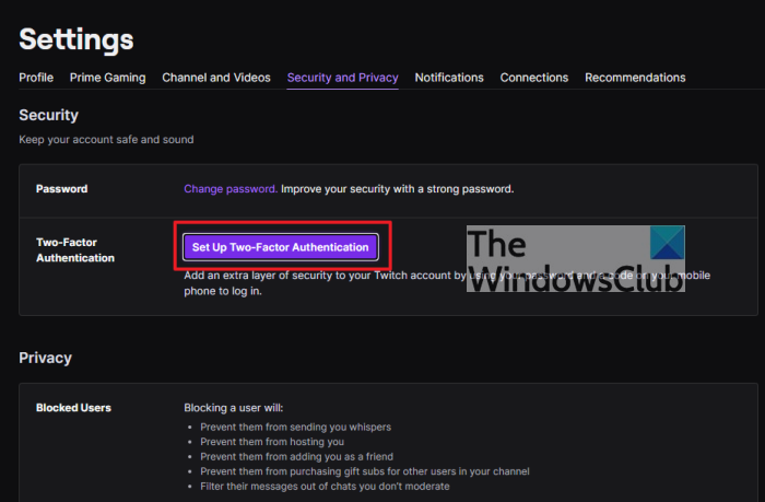 Fix Twitch Error code 788078D4, Two-factor authentication is required to stream
