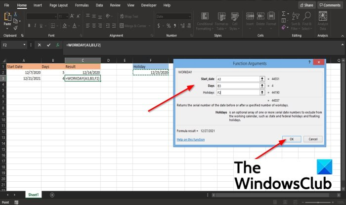How to use the WORKDAY function in Excel