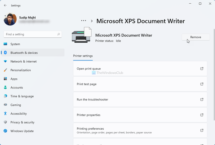 How to Add or Remove Microsoft XPS Document Writer Printer in Windows 11/10