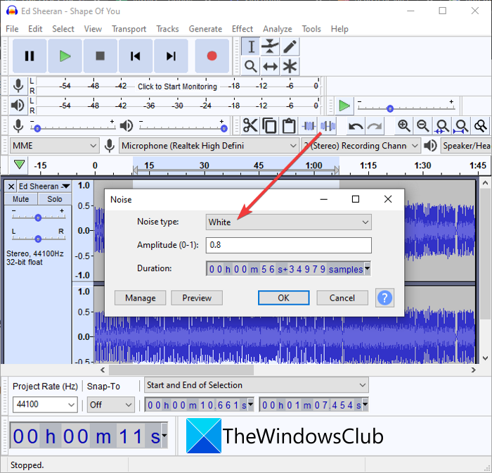 How to Add White Noise to Music on a Windows 11/10 PC