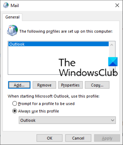 create a new outlook profile
