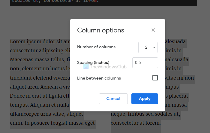How to create or add columns in Google Docs
