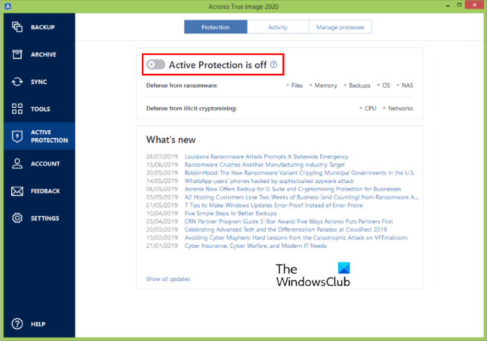 disable active protection acronis