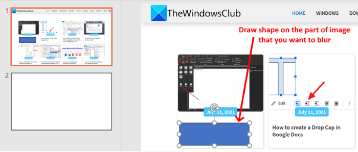 draw shape to blur image PowerPoint