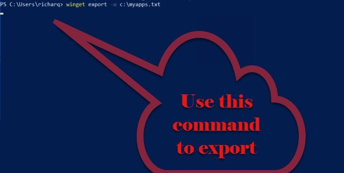 Export or Import Installed software list using WINGET on Windows 11/10