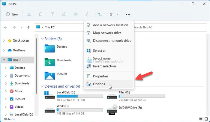 How to activate Windows 10 Explorer in Windows 11 using Folder Options