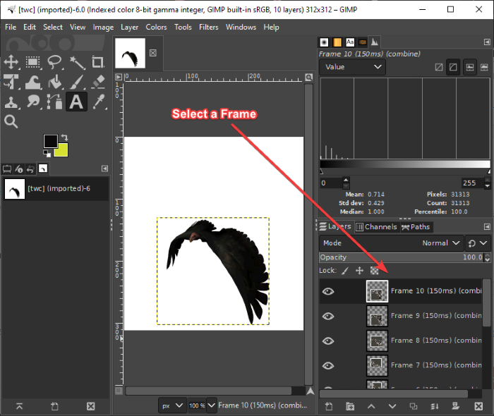 How to Edit Frames of an Animated GIF using GIMP in Windows 11/10