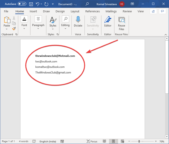 How to Extract Email Addresses from Word document in Windows 11/10