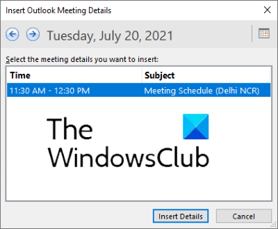 insert outlook meeting in onenote