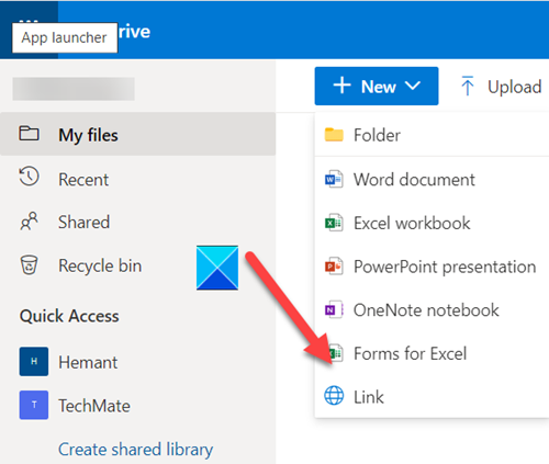 OneDrive Forms for Excel