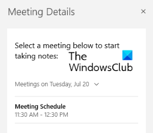 outlook meeting onenote for windows 10