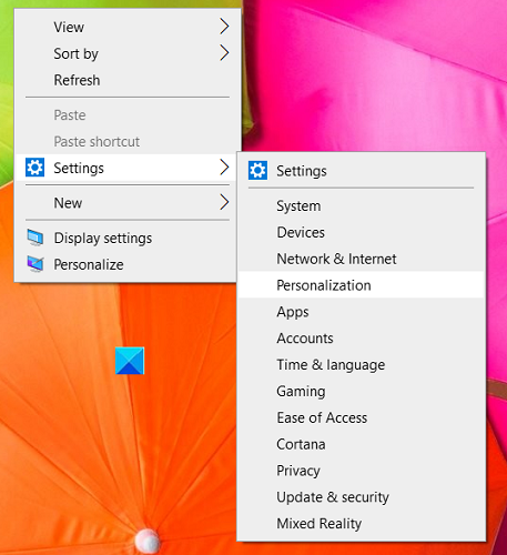 How to add Windows Settings to the desktop context menu