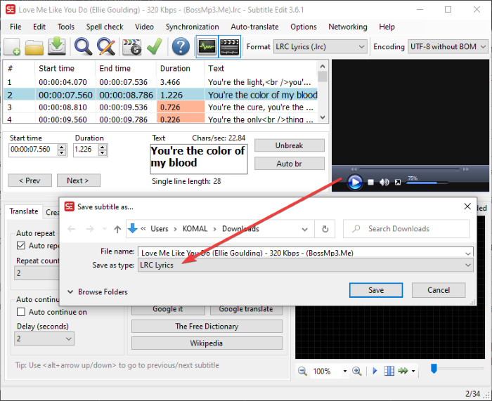 How to create an LRC file in Windows