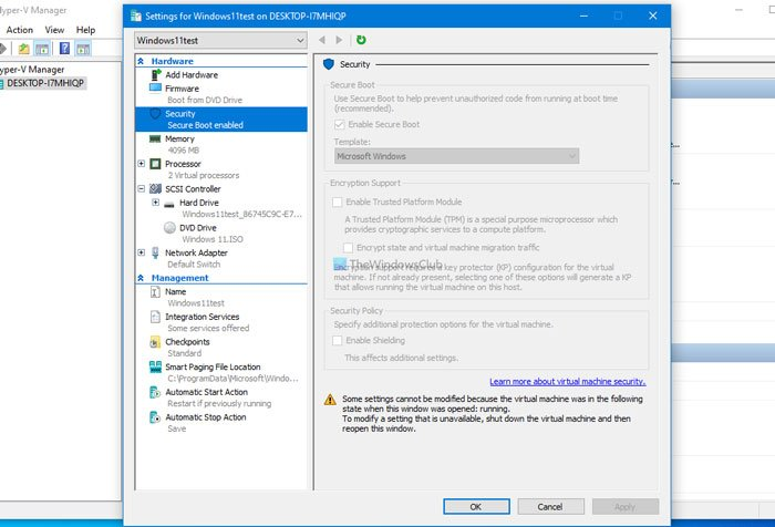 Fix unable to change Security settings or grayed out in Hyper-V
