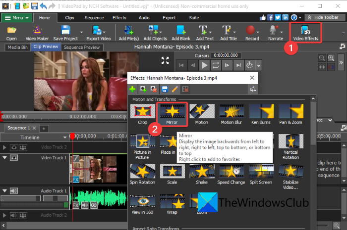 How to add Mirror effect to Videos in Windows
