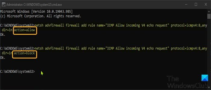 Allow Pings (ICMP Echo requests) through Firewall-Command Prompt