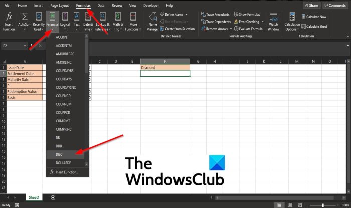 How to use the DISC function in Excel