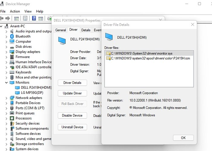Device Manager Driver Details
