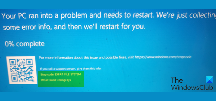 EXFAT FILE SYSTEM (volmgr.sys) Blue Screen