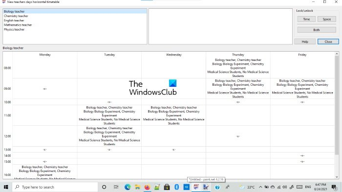Free Timetable software for Windows