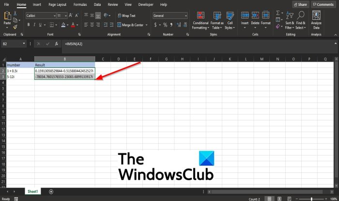 How do I use the IMSIN function in Excel