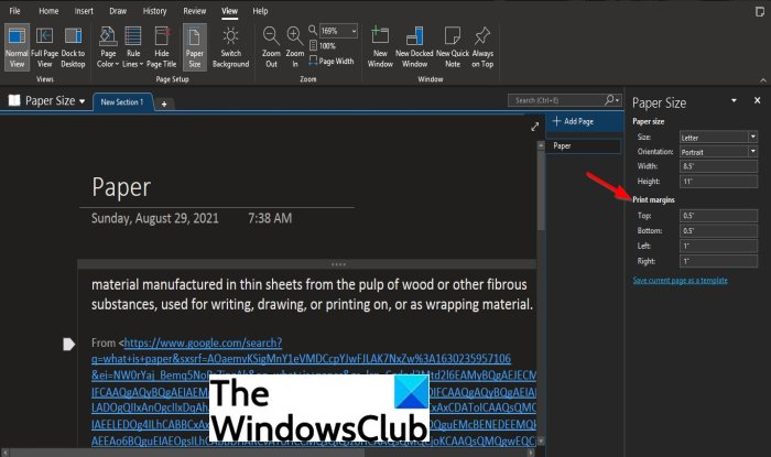 How to set or change Page size and margins in OneNote
