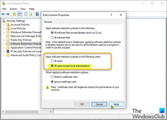 Modify Local Security Policy Settings