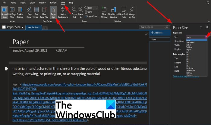 How to use the Paper Size feature in OneNote