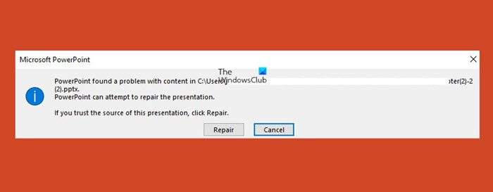 PowerPoint found a problem with content