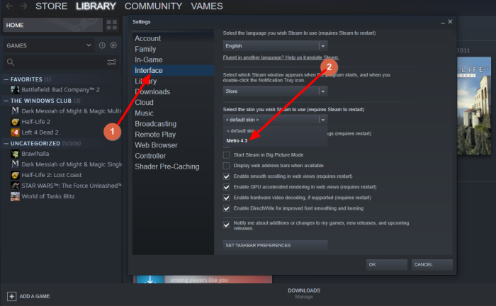 How to add Steam Skins on Windows 11/10