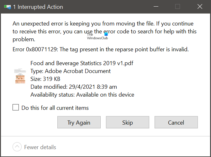 Error 0x80071129: The tag present in the reparse point buffer is invalid