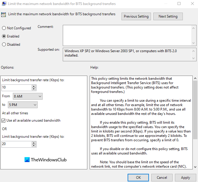 Use Group Policy to fix High Network and Disk usage