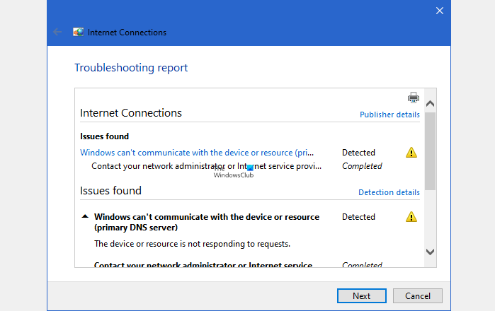 Windows cant communicate with the device