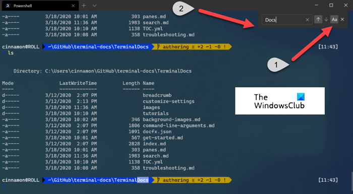 How to search in Windows Terminal