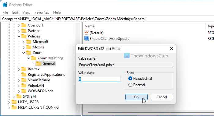 How to enable or disable Zoom auto update using Group Policy and Registry