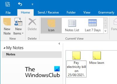 find Sticky Notes in Outlook
