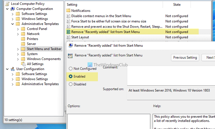 How to show or hide Recommended list in Start Menu on Windows 11
